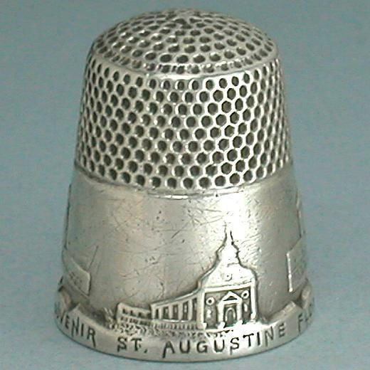 Antique Sterling Silver St Augustine Thimble by KMD * c. 1890s