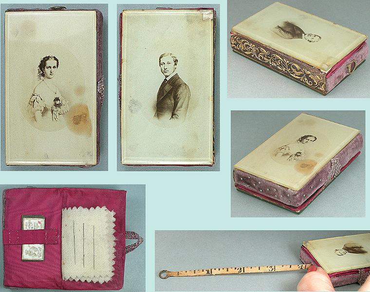 Antique Royal Commemorative Glass Needle Book/Pincushion /Tape