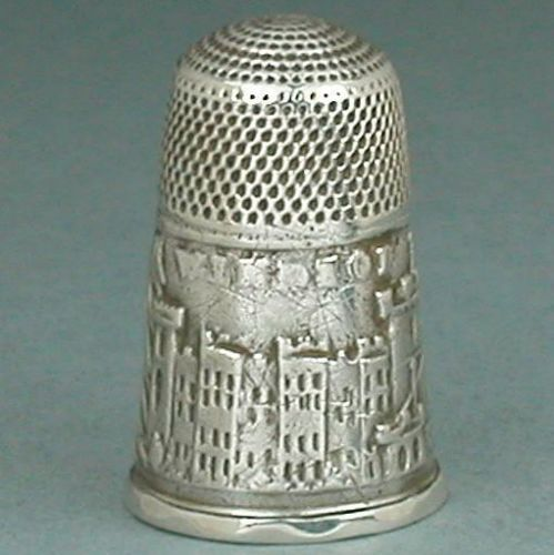 Antique English Sterling Silver Windsor Castle Thimble * C1850